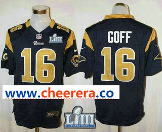 84d235a8f0eb4 Men's Los Angeles Rams #16 Jared Goff Navy Blue 2019 Super Bowl LIII Patch  Team Color NFL Nike Game Jersey