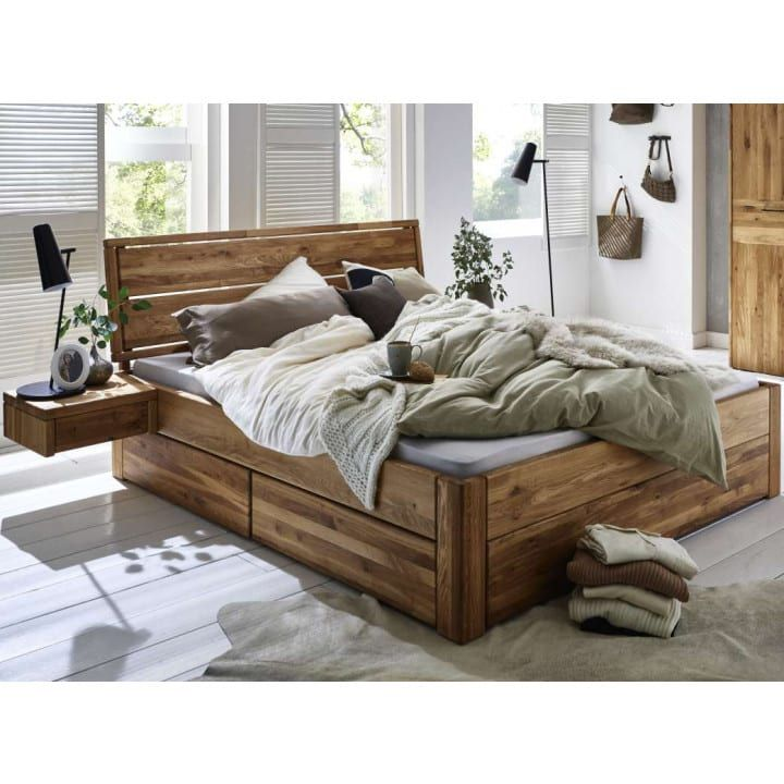 Bett Eiche Massivholz 180x200 cm Komforthöhe mit