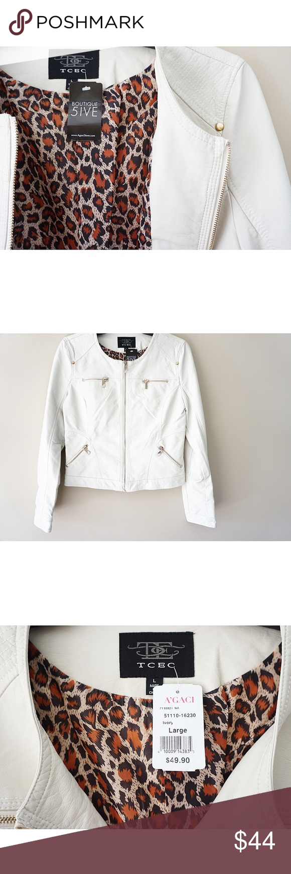 NWT Cream Leather Jacket Cream leather jacket, Leather