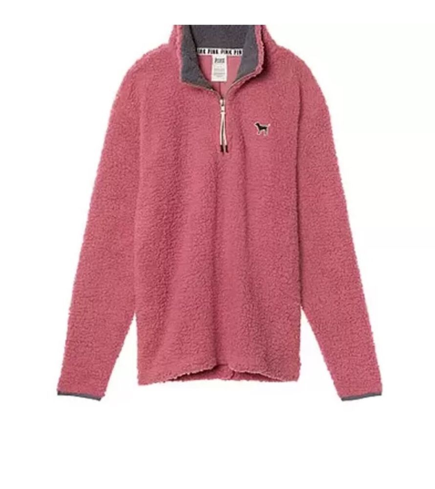 Victoria's Secret Pink Boyfriend Begonia Quarter Zip Sherpa Fleece ...