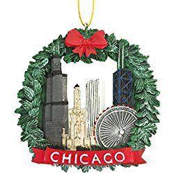 chicago christmas ornament chicago wreath christmas ornament resin - Chicago Christmas Ornament