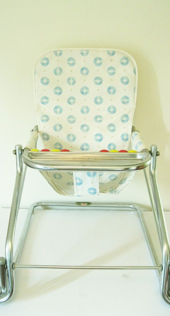 Chrome 1950s Traditional Baby Bouncer Highchair Seat