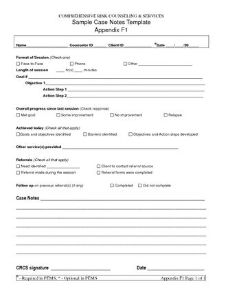 Free Case Note Templates  Sample Case Notes Template Appendix F