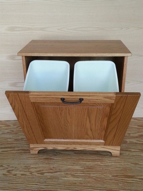 Double Kitchen Trash Can in 2020 | Woodworking projects ...