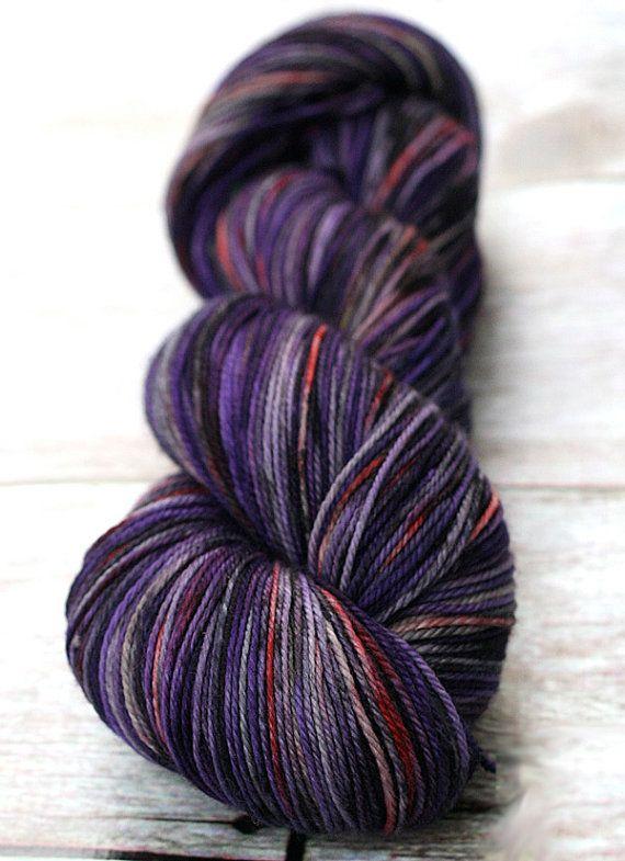 Handspun 2 Ply Rustic DK Weight Yarn Merino Weaving Silk Knitting Lavender Fields Hand Dyed Falkland Wool Purple Yarn Crochet
