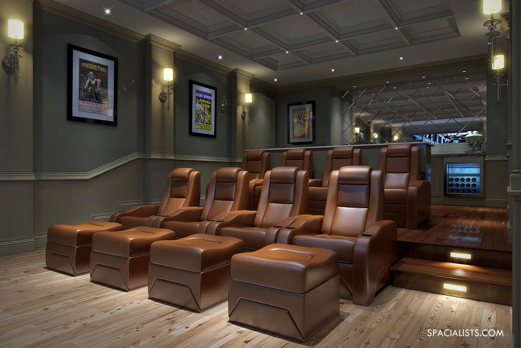 Wall Sconces Theater Room : Traditional Home Theater with Box ceiling, Hardwood floors, Wall sconce, Crown molding, Chair ...