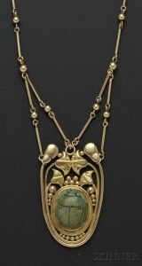 Arts & Crafts 14kt Gold and Faience Scarab Necklace, F.G. Hale