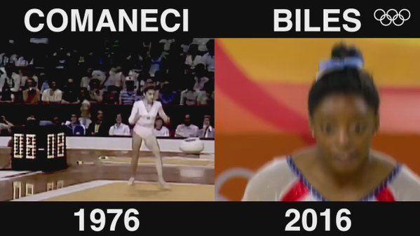 RT @Olympics: All-around @Gymnastics champions 40 years apart. @nadiacomaneci10 @Simone_Biles #Top10 #MostRT2016 (6/10) https://t.co/isznHFNXNf