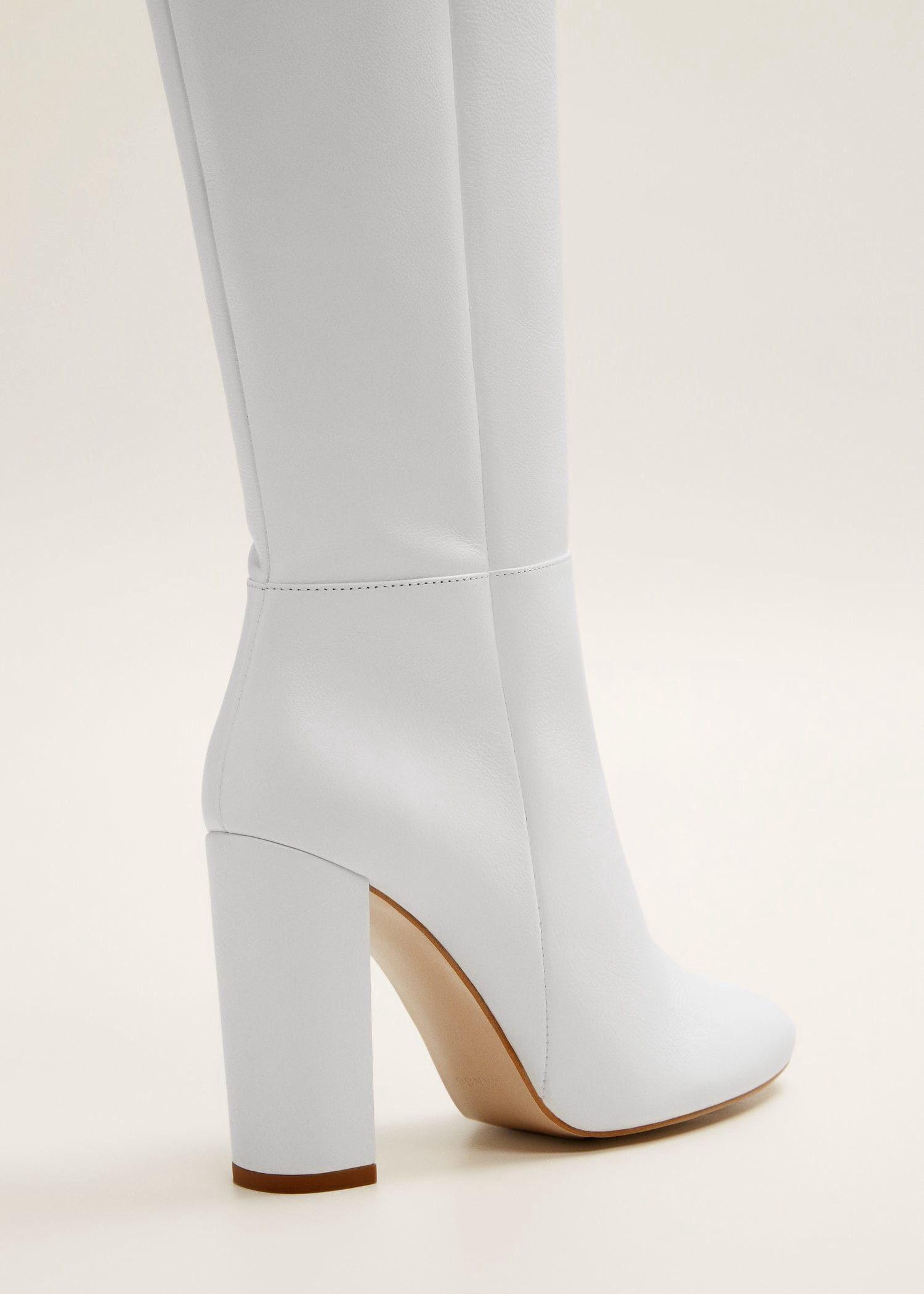Mango Leather High-Leg Boots - White 9½