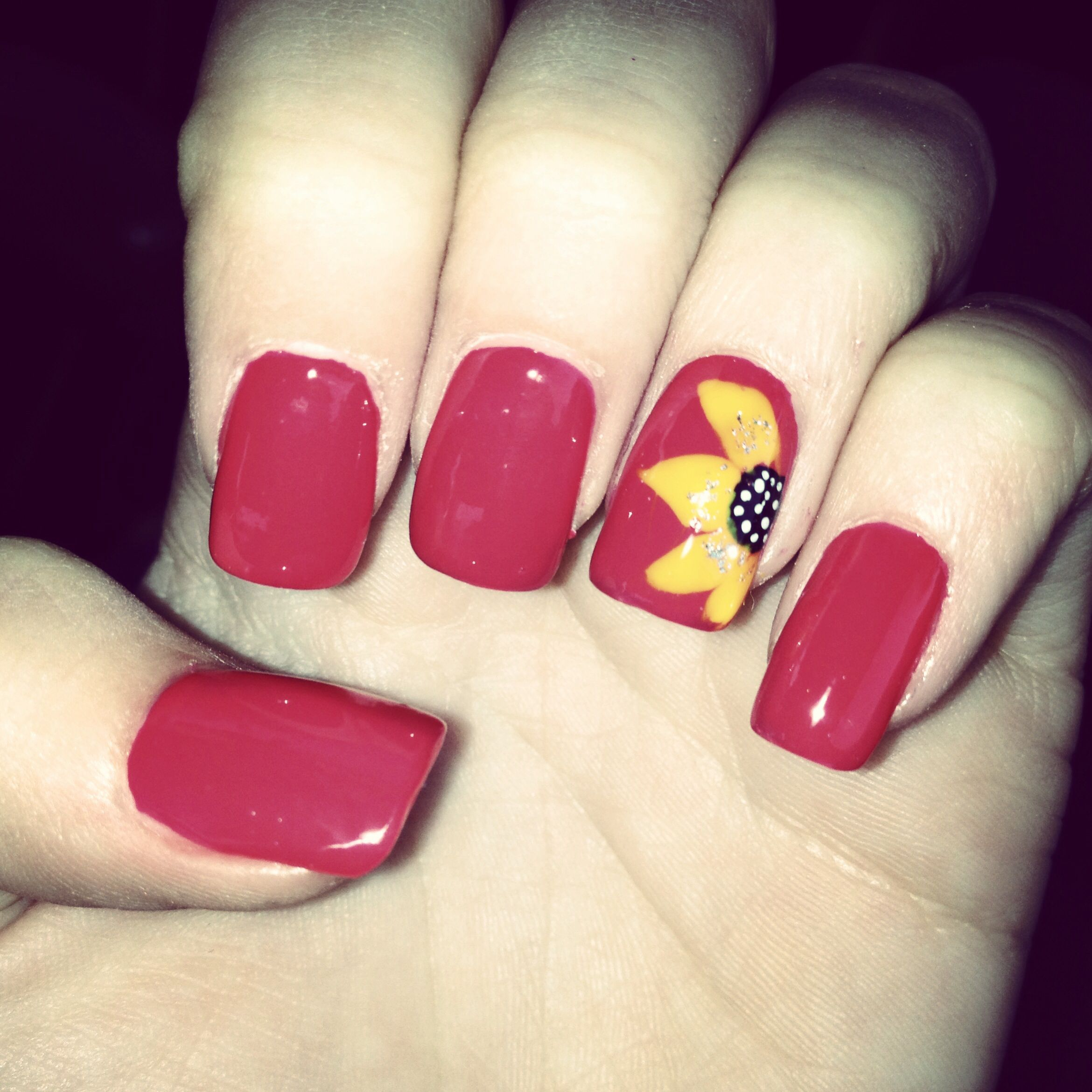 Maroon Nails With Sunflower Accent Nail Maroon Nails Sunflower Nails Nails
