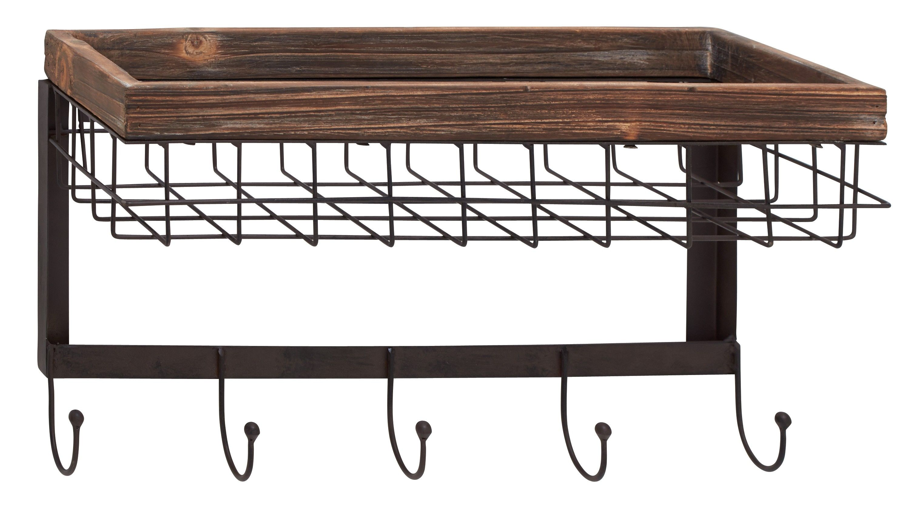 Contemporary Inspired Style Wood Metal Wall Basket Hook Home D