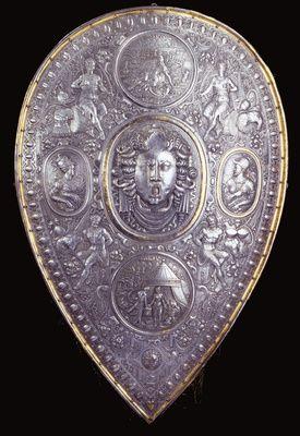 Schild / Garnitur bestehend aus Morion und Schild   Süddeutschland. Vermutlich Augsburg. 2. Hälfte 16. Jahrhundert.