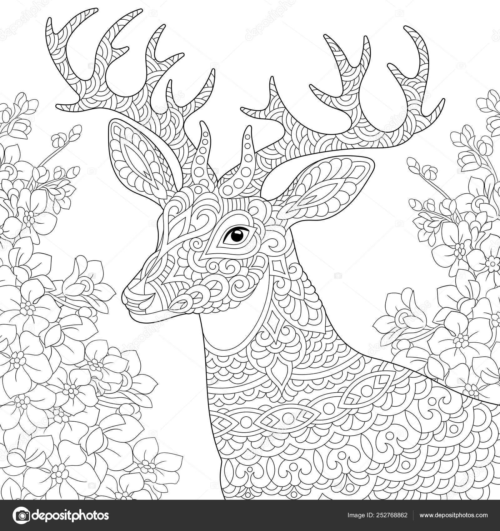 Downloaden Zentangle Herten Rendieren Kleurplaat Stockillustratie Coloring Pages Colorful Drawings Star Coloring Pages