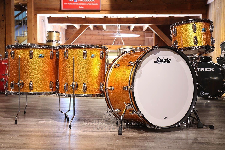 Ludwig Classic Maple 4pc Drum Set Gold Sparkle Drum Set Drums Vintage Drums
