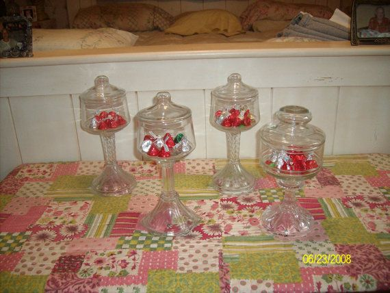 Pedestal Candy Bar Jars With Vintage Matching Clear Glass Apothecary
