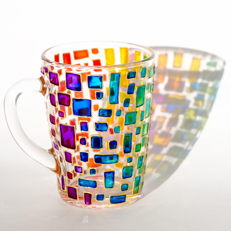 Rainbow Mug Multi Colored Mug Stained Glass Cup Housewarming Gift Colorful Mug Mosaic Cup Custom Coffee Mugs Modern Mugs Painted Coffee Mugs Mugs