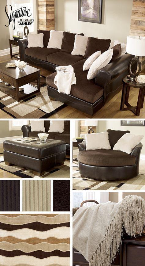 astounding white brown living room furniture | Sectionals - Living Room Furniture - Brown and Cream White ...