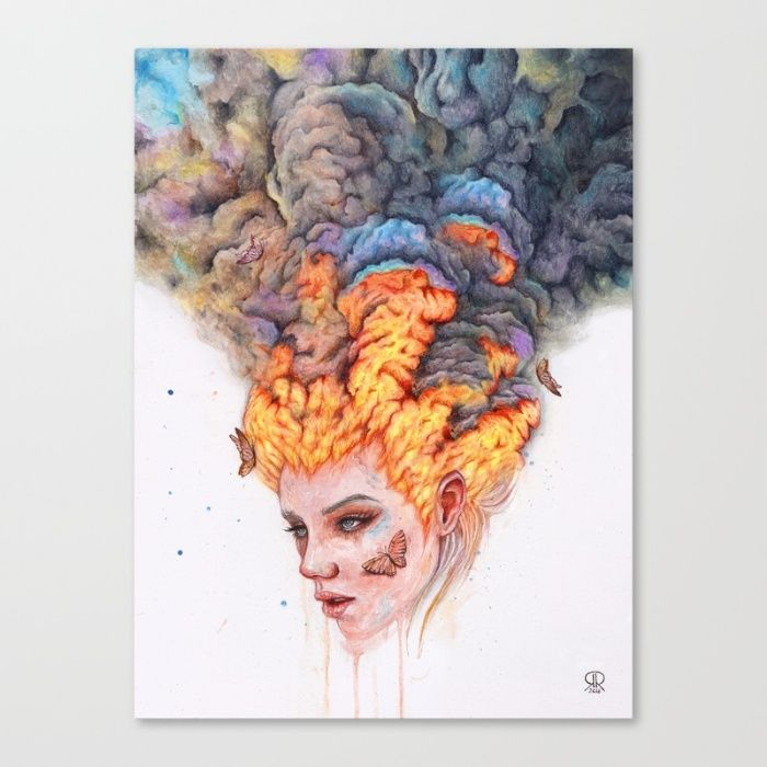 Flaming Girl Canvas Print by Ronald Restituyo   Society6