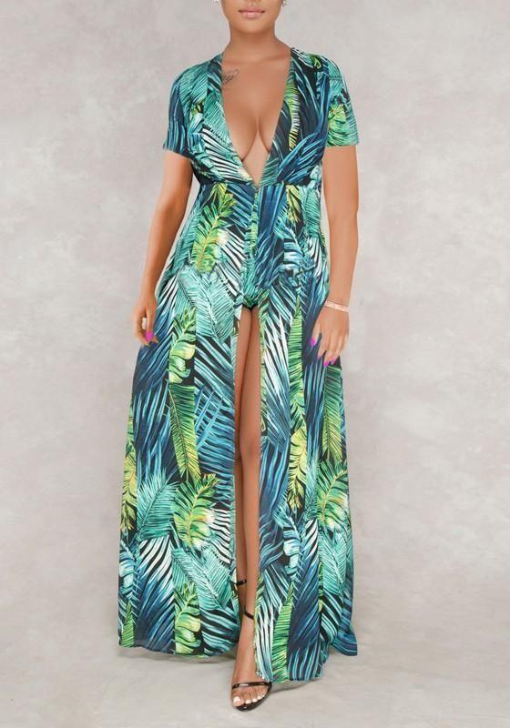 3c5880e3297 Green Palm Leaf Print Deep V-neck Bohemian Flowy Short Jumpsuit With Maxi  Overlay