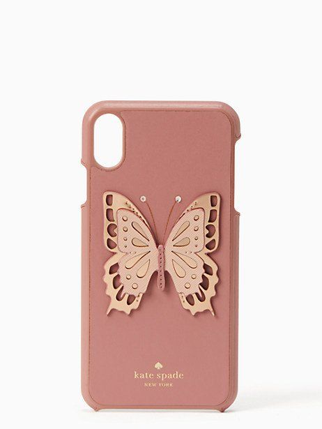 new product a0c1c ede3b Kate Spade Butterfly Applique Iphone Xs Max Case, Dusty Peony ...