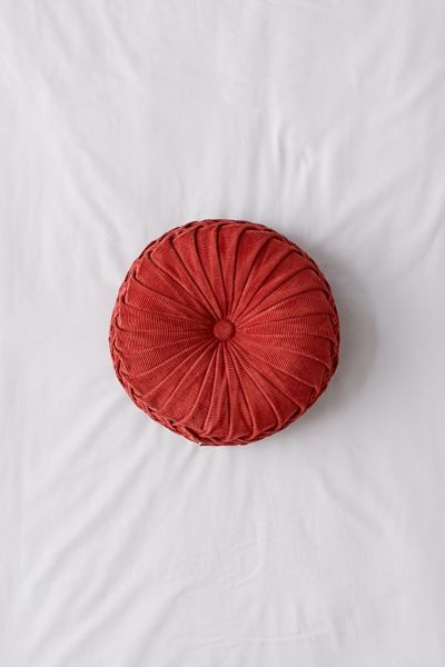 Round Corduroy Pintuck Throw Pillow