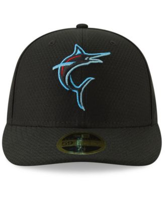 official photos eb45a 52357 New Era Miami Marlins Batting Practice Low Profile 59FIFTY-fitted Cap -  Black 7 3 4