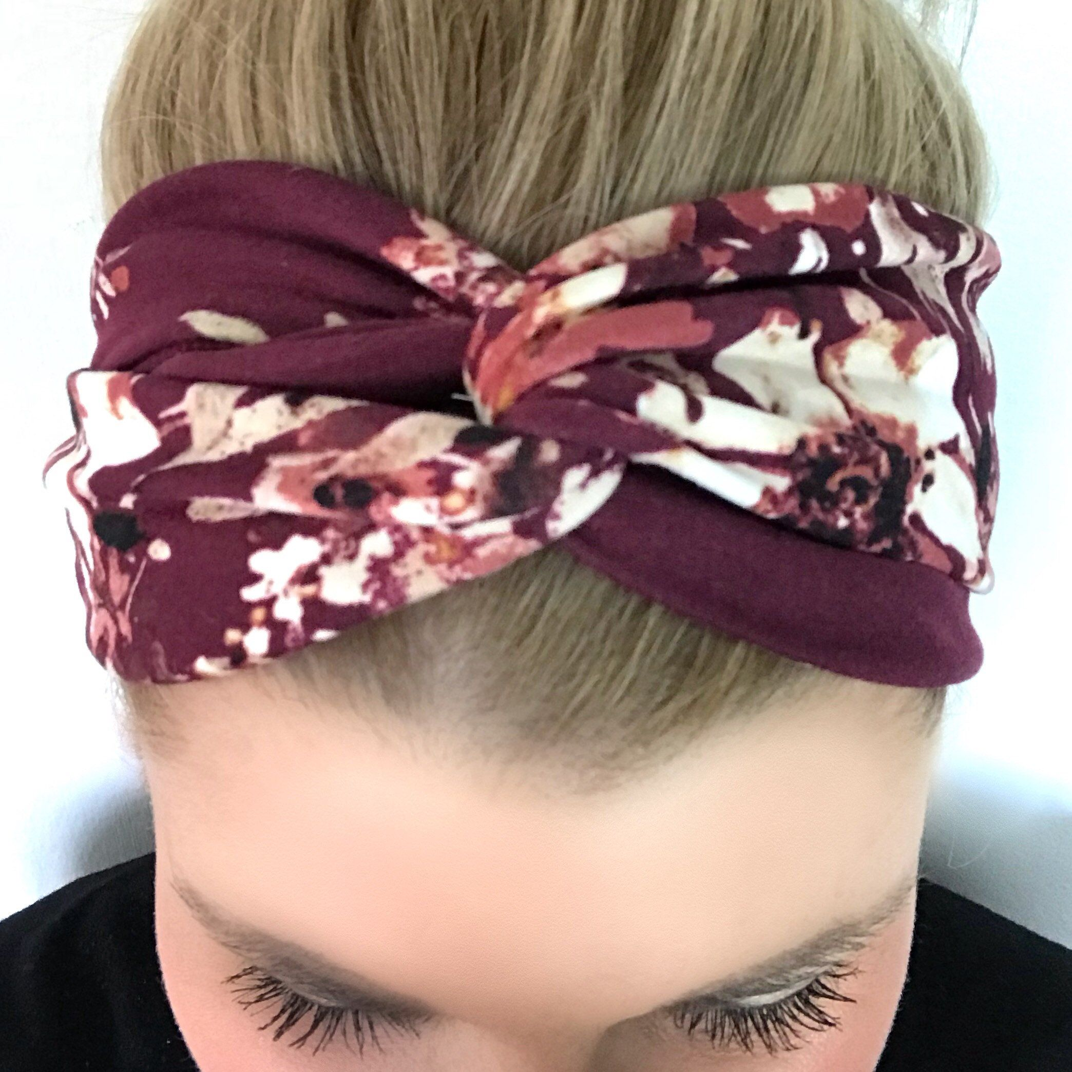 Burgundy Floral Turban Headband - Headbands for Women- Wine - Maroon - boho  headband - Knot headband adult - headband women - flower print db1a736abe0