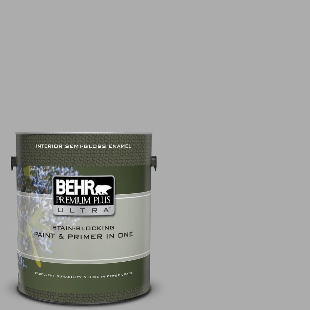 Behr Premium Plus Ultra 1 Gal N520 3 Flannel Gray Semi Gloss Enamel Interior Paint And Primer In One Behr Paint Primer Exterior Paint