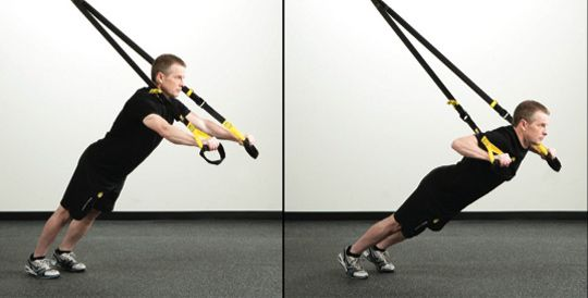 Push-up with a TRX system