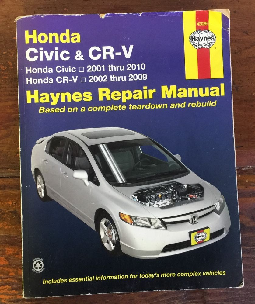 Honda Civic 2001 - 2010 & Honda CRV 2002 - 2009 Haynes Repair Manual #