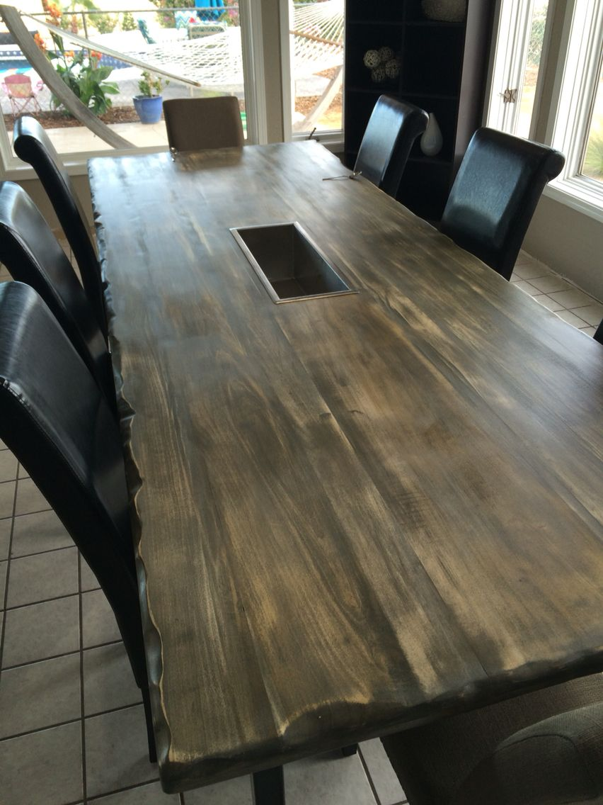 Table With Drink Trough Poplar Wood Stained And Sanded With Live Edge Gray Rustic Metal