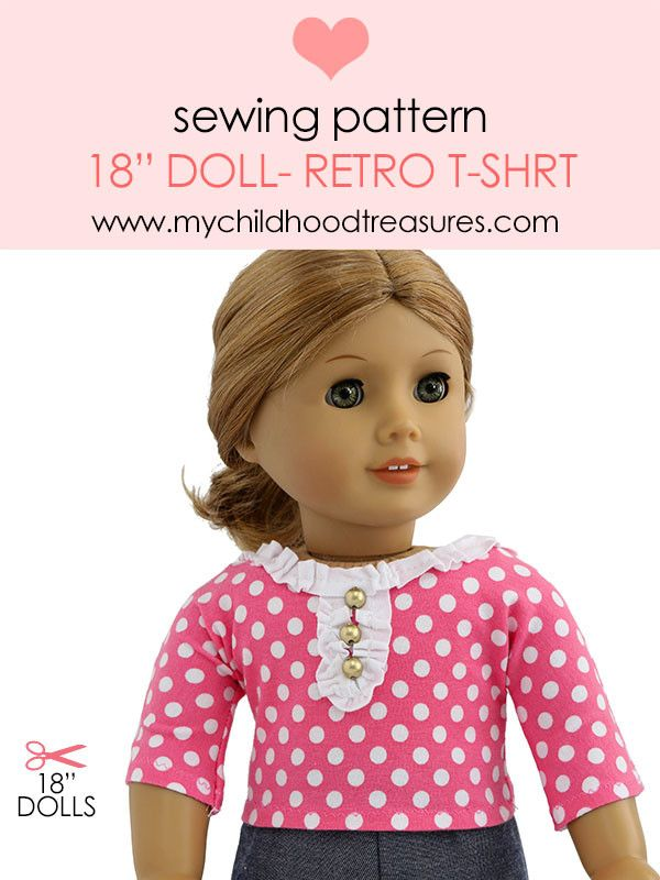 Free Doll Clothes Pattern - 18 inch Doll T-shirt Pattern | Sewing ...