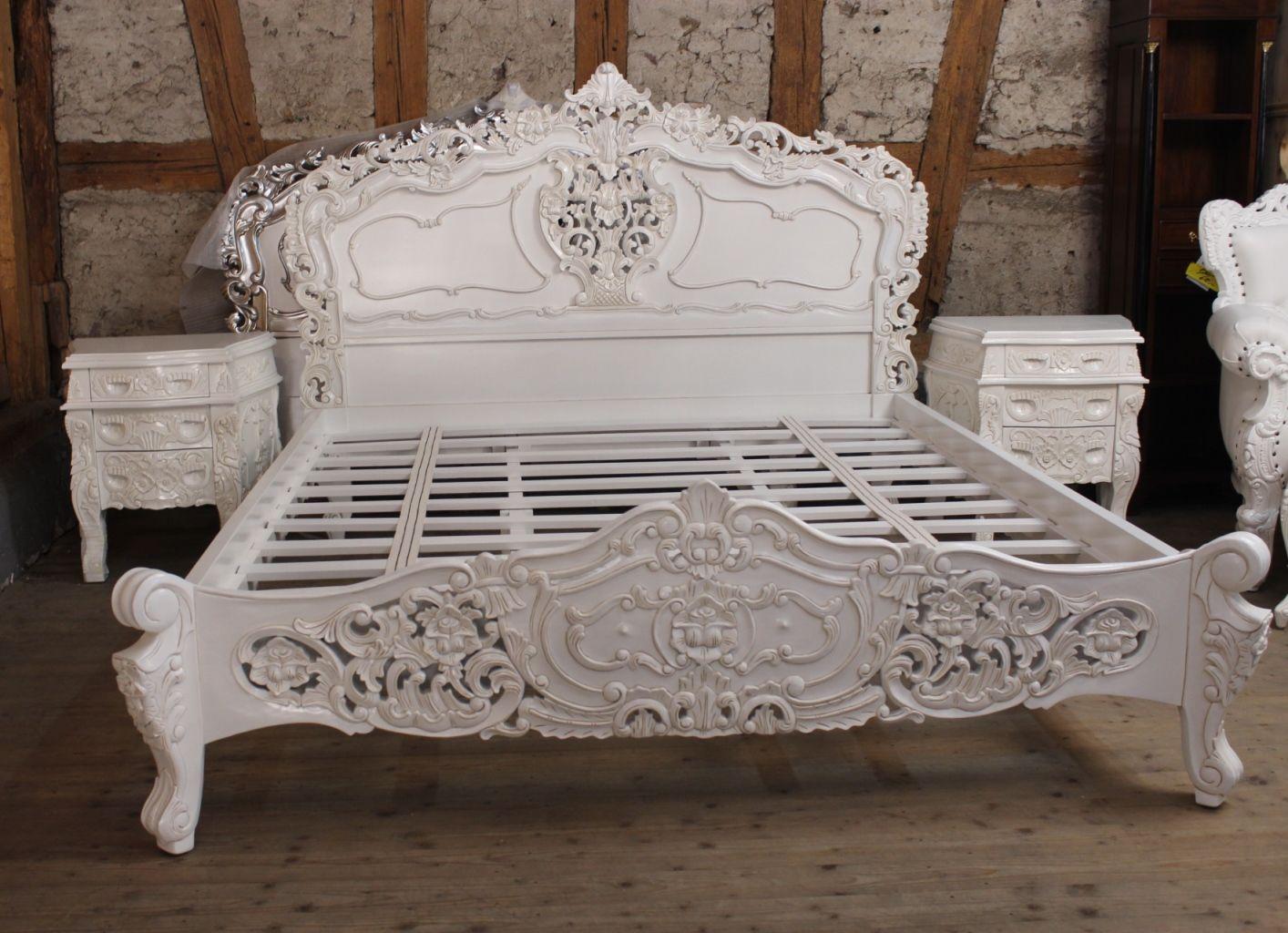 Rokoko Bett Doppelbett Weiss Antik Liquidationen