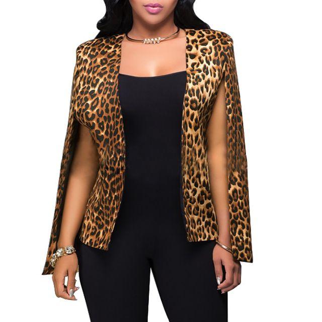 Mode Mantel Cape Blazer Mantel Frauen 2016 Herbst Leopardenmuster Split Langarm Sexy Frauen Oberbekleidung Anzug Damen Mäntel Blazer