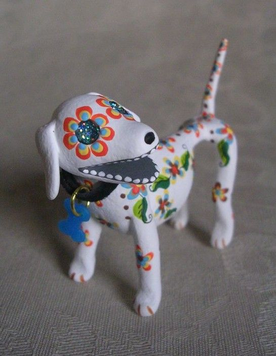 Day of the Dead Sugar Skull Dog by Tamra Kohl Tamra Kohl supporting the Foxy Doxy Dachshund Rescue. http://www.halloweenstudiotour.com/artist2.htm