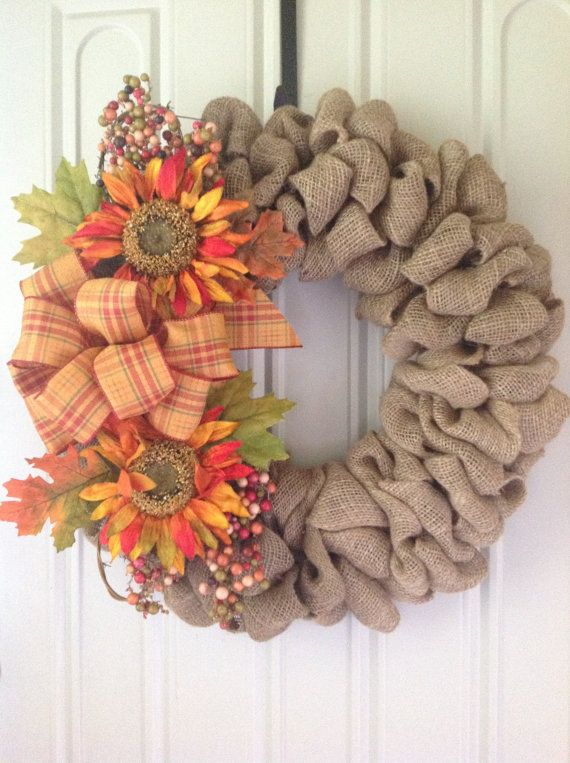 Fall burlap wreath thanksgiving autumn harvest front for Diy thanksgiving door decorations