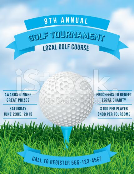 Vector Golf Tournament Poster Invitation Template Ball In The
