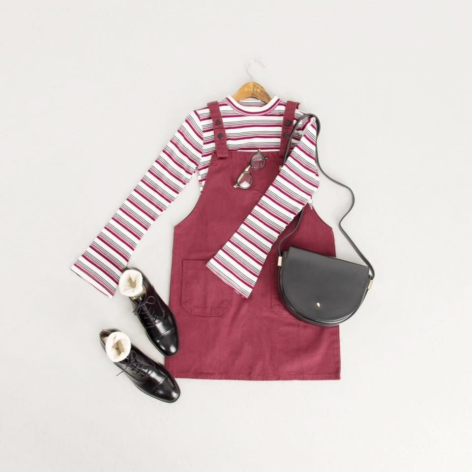 How To Wear | Colour Mix Stripe Tee, Red Paired With Apron Dress, Wine