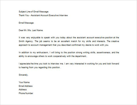 Interview Thank You Letter Template Interview Thank You