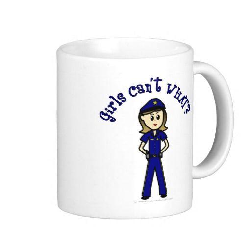 Light Police Officer Girl Mugs