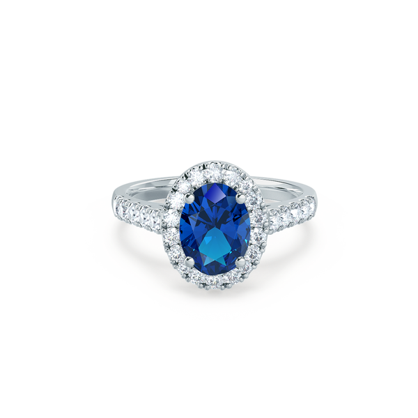 Rosa Lab Grown Blue Sapphire Diamond Platinum Halo Square Halo Engagement Rings Blue Sapphire Rings