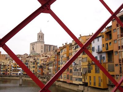 Girona cathedral from El Pont de les Peixateries Velles, Spain built by the company of Gustave Eiffel.