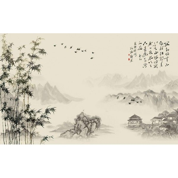papier peint chinois chinese wallpaper paysage avec les bambous etle po me papier peint. Black Bedroom Furniture Sets. Home Design Ideas