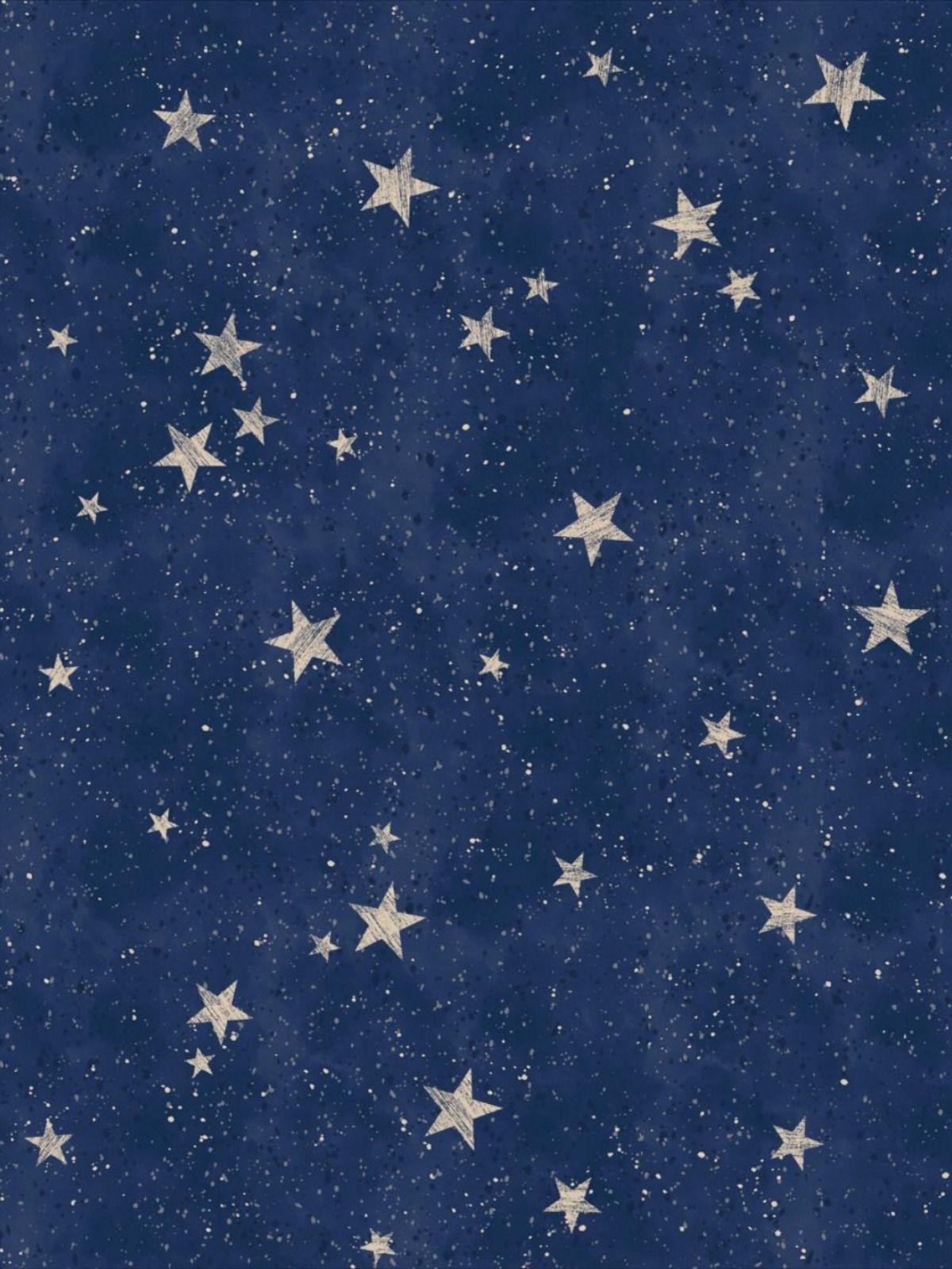 Crown Starlight Stars Wallpaper Navy / Gold M1490