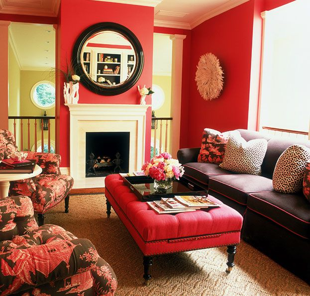 Very pretty room deep rose pink and chocolate brown for Red brown and black living room