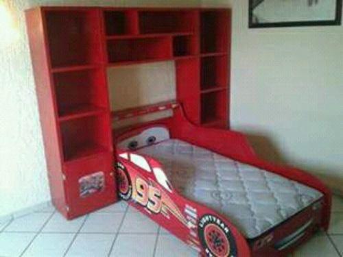 Cama Rayo Mcqueen Cama Carro Cars Recamara Infantil Librero