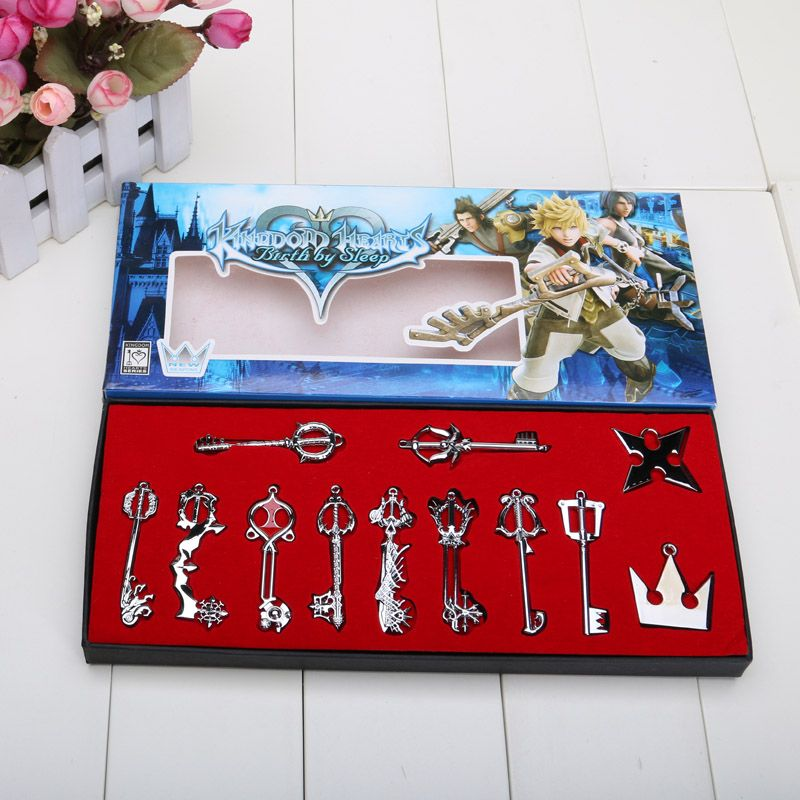 12pcsset kingdom hearts cosplay necklace sora keyblade keychain 12pcsset kingdom hearts cosplay necklace sora keyblade keychain metal figure toy pendants in aloadofball Image collections