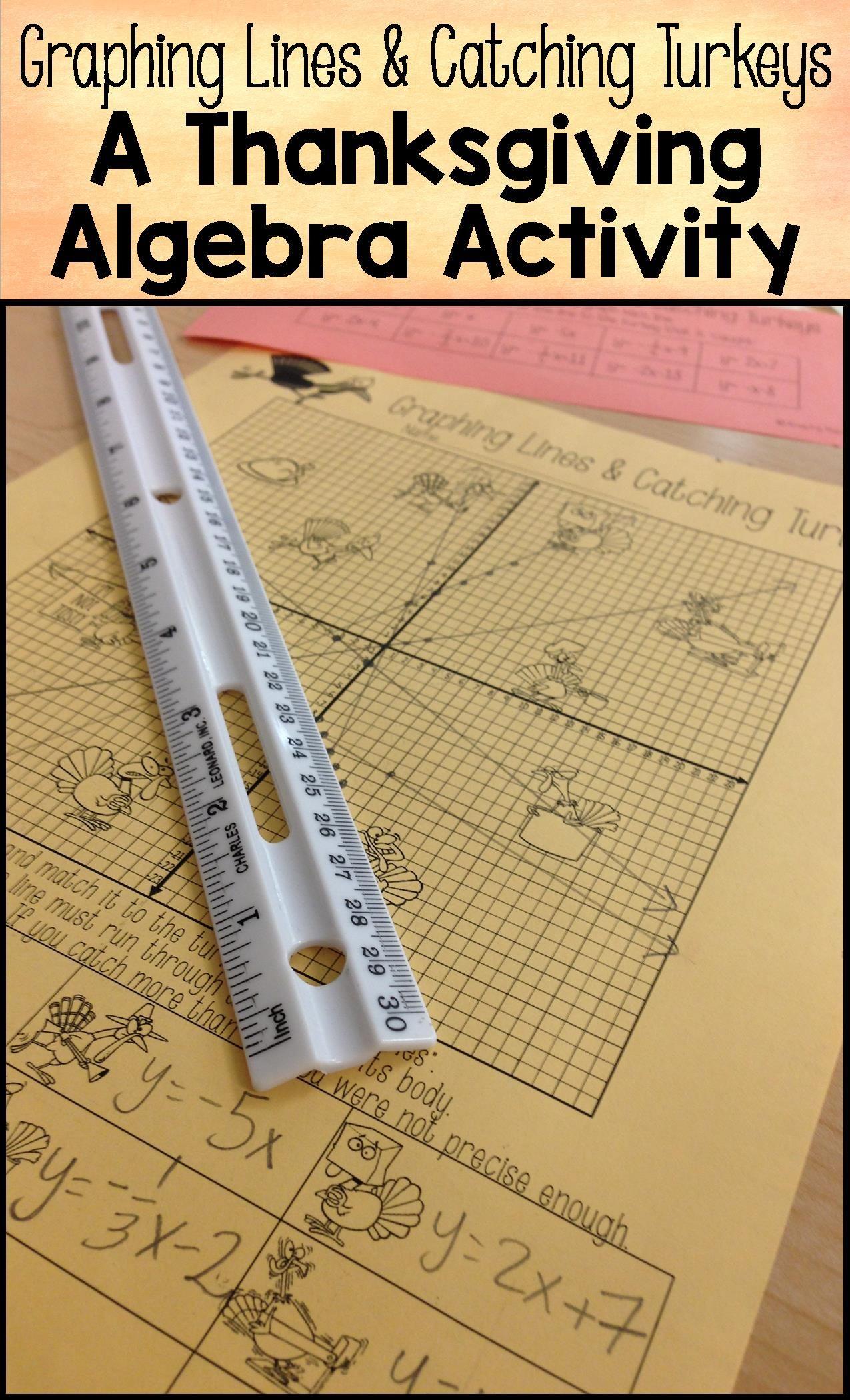 worksheet Slope Intercept Form Worksheets 8th Grade thanksgiving graphing lines activity slope intercept form form