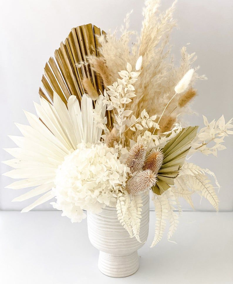 Dried Pampas Grass Palm And Thistle Arrangement In 2020 Dried Flower Arrangements Dried Flower Bouquet Dried Flowers