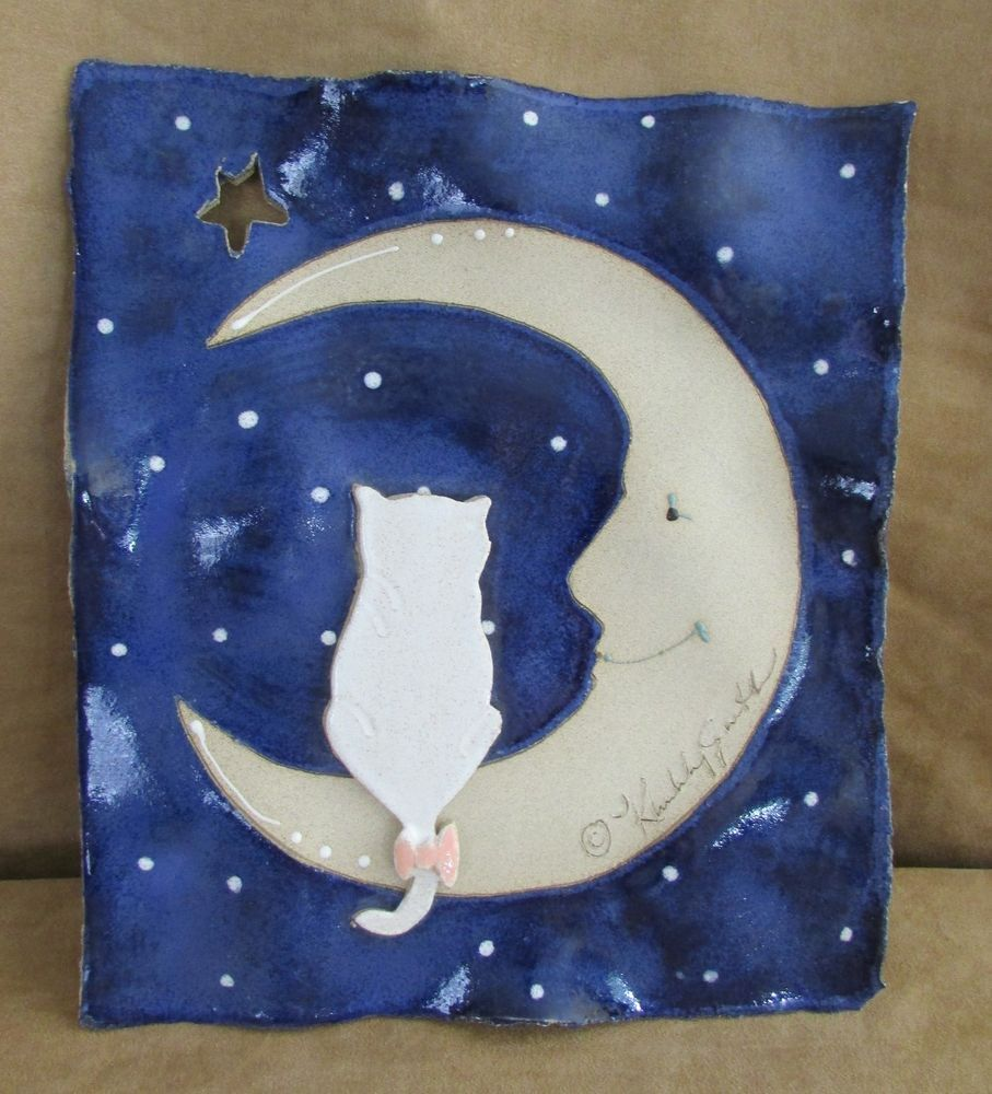 ceramic wall hanging cat and the moon kimberly smith on kim wall id=60910